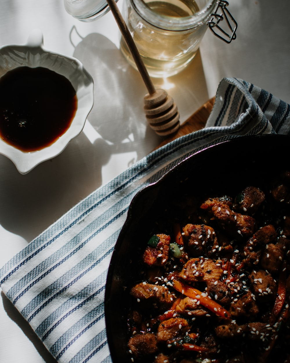 cooked food on black bowl