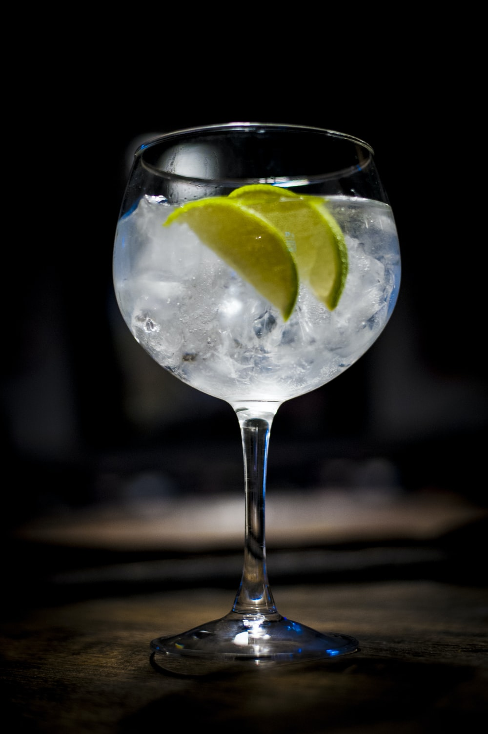 clear wine glass with lemon