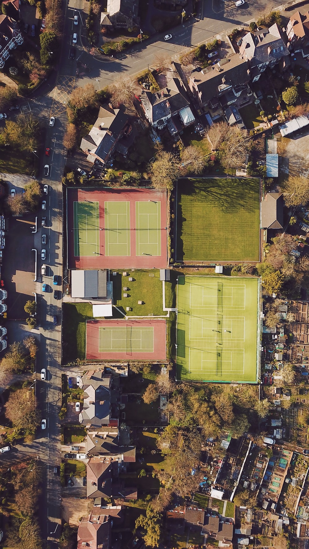 aerial view of green soccer field