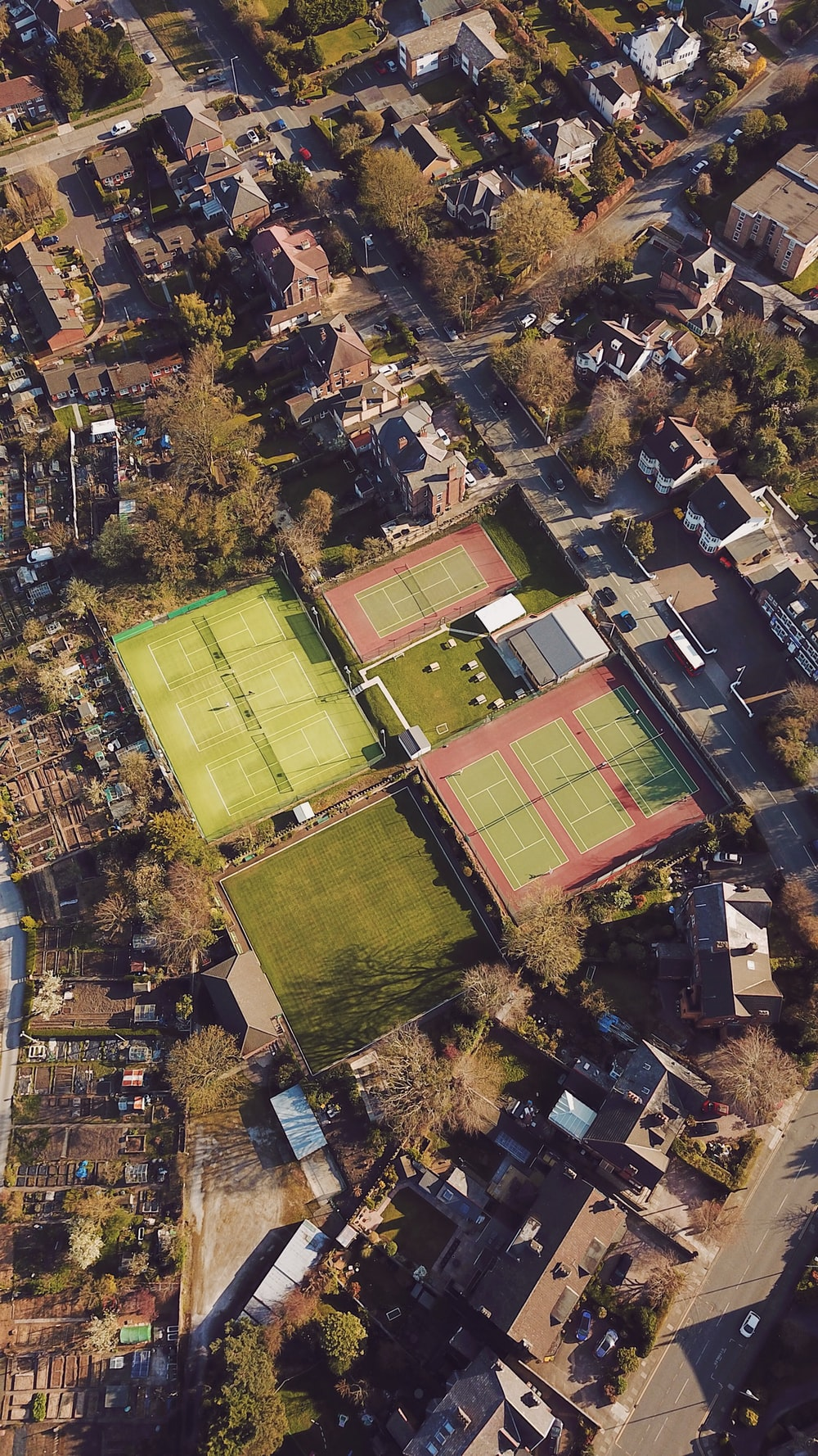 aerial view of green and brown soccer field