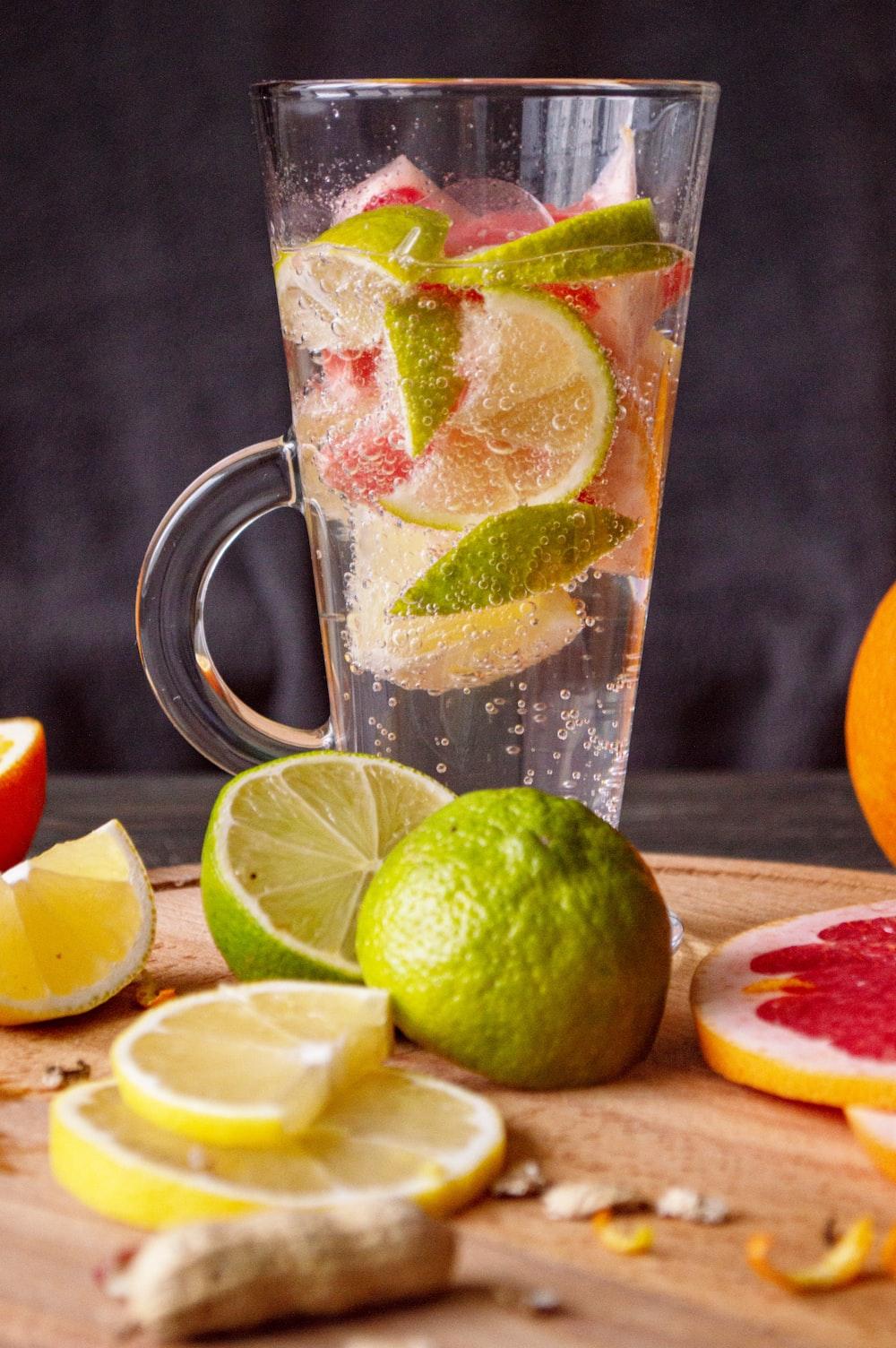 clear glass mug with lemon juice