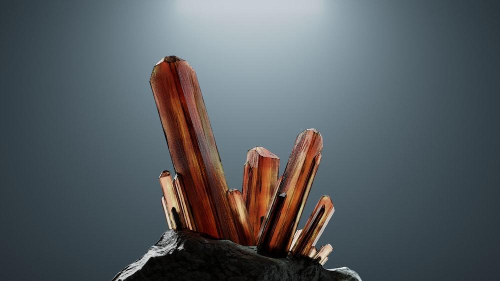 brown wooden sticks on white ice
