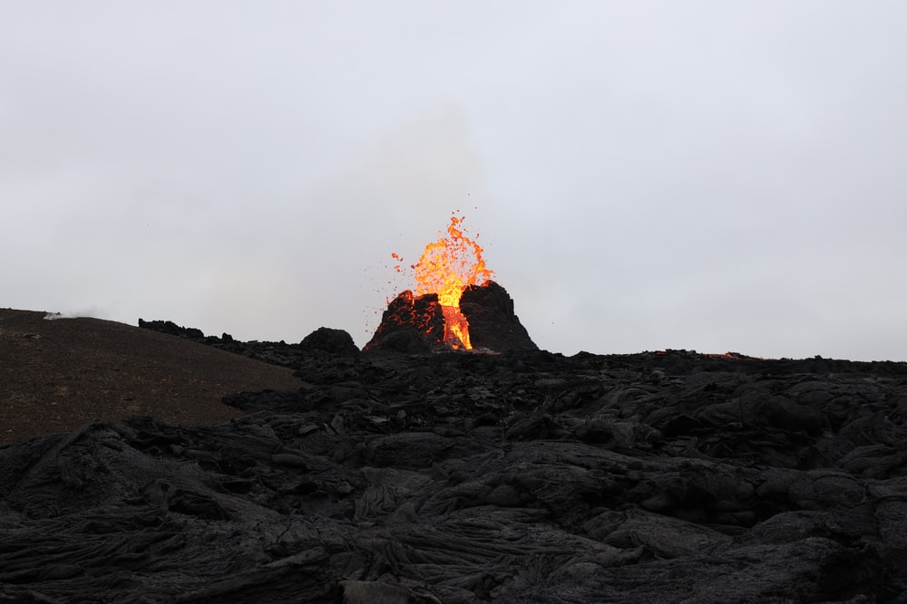burning wood on black sand during daytime