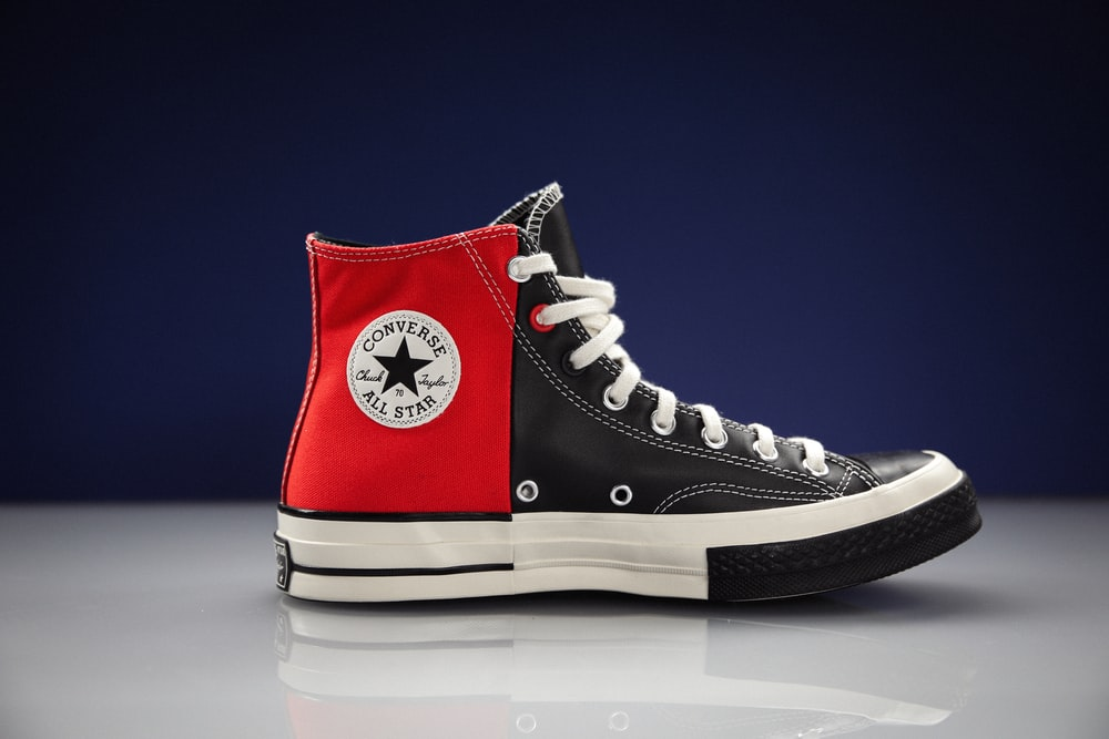 red and white converse all star high top sneaker