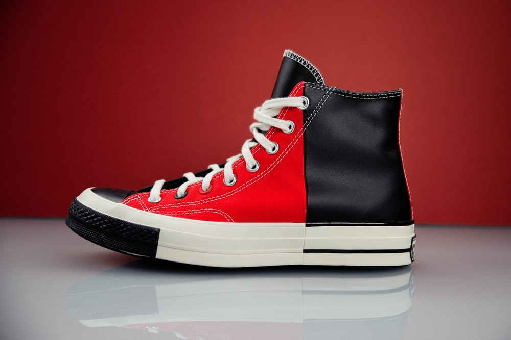 black and red nike high top sneaker