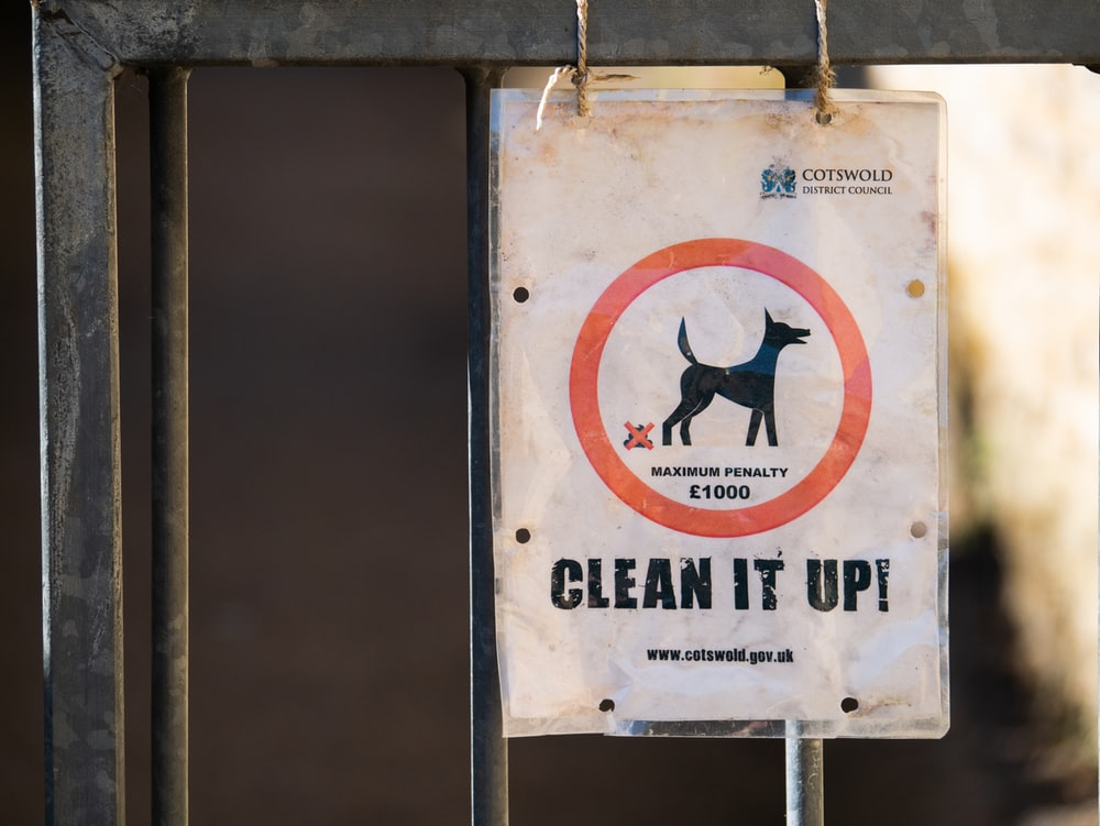 A public street sign warning you of a potential fine if your dog droppings are not cleaned up