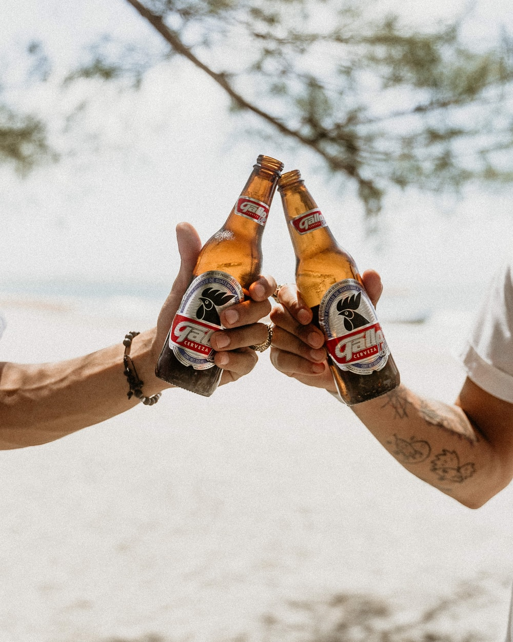 three person holding a beer bottles