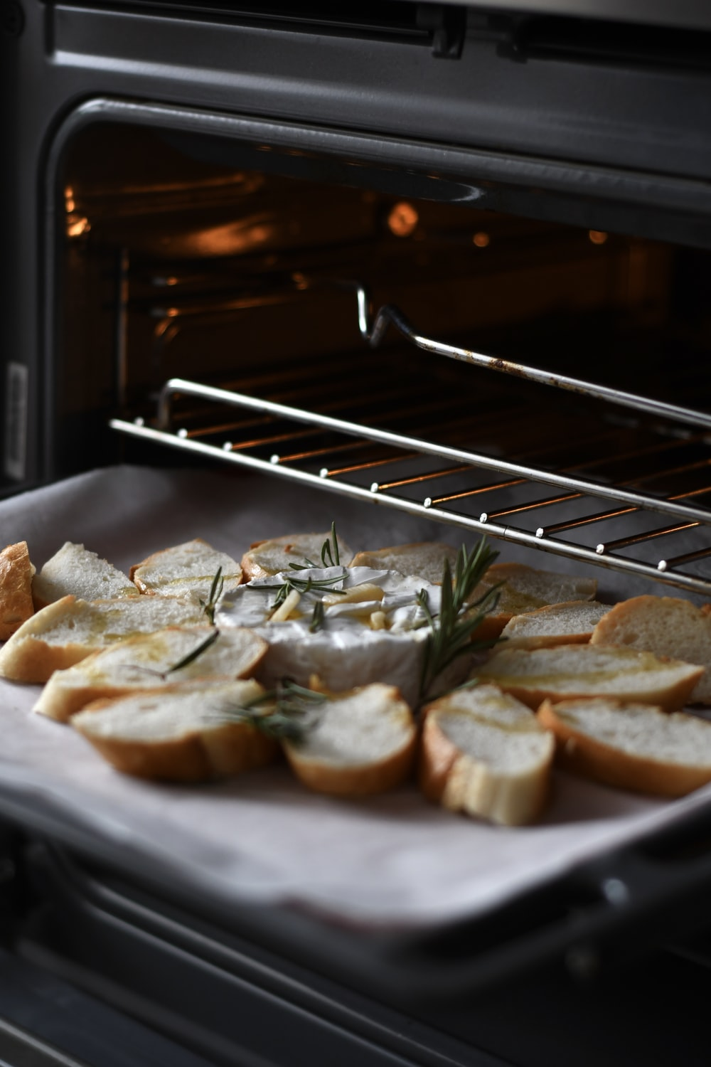 bread on stainless steel tray