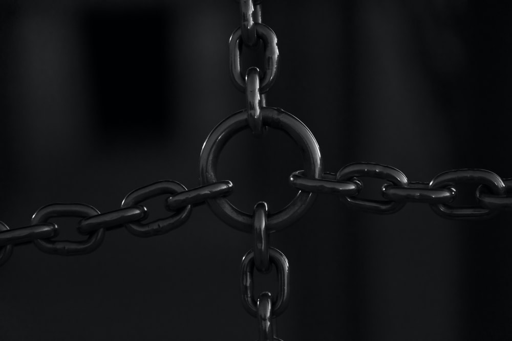 silver chain link with black background