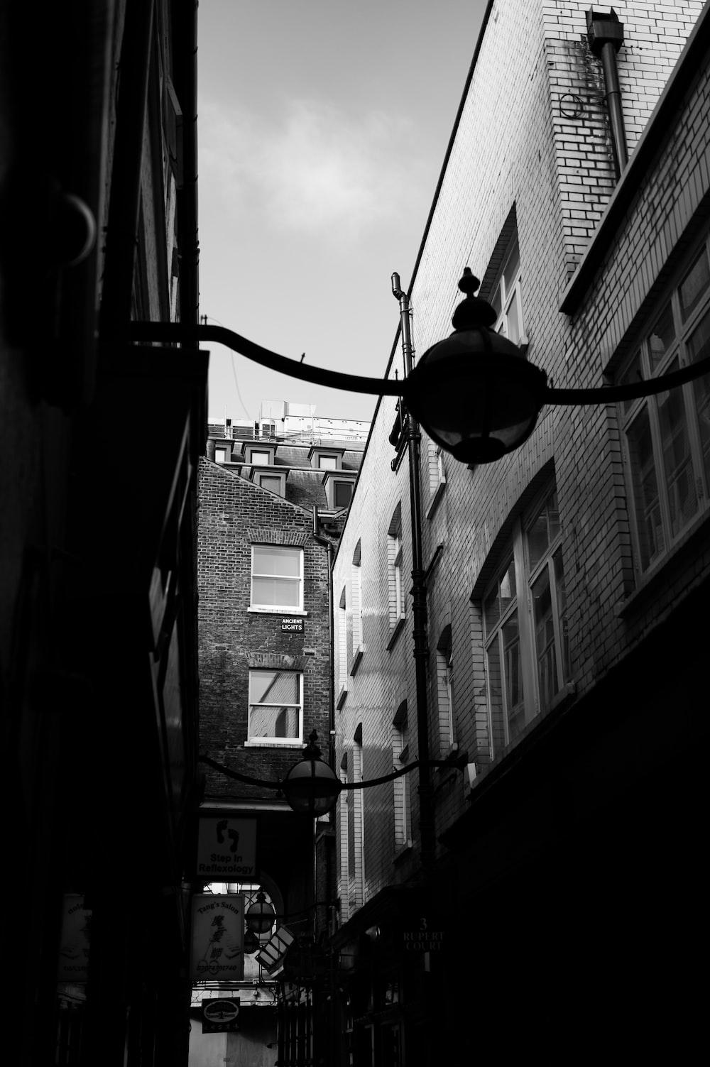 grayscale photo of street light