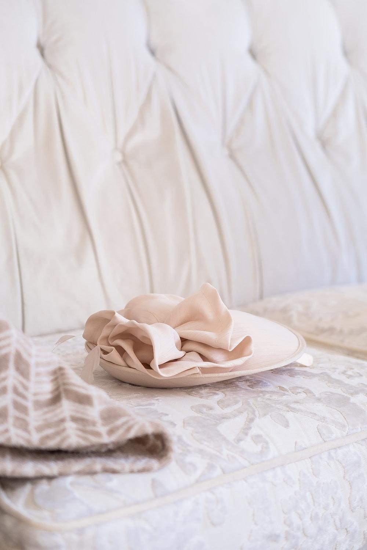 white textile on white ceramic plate