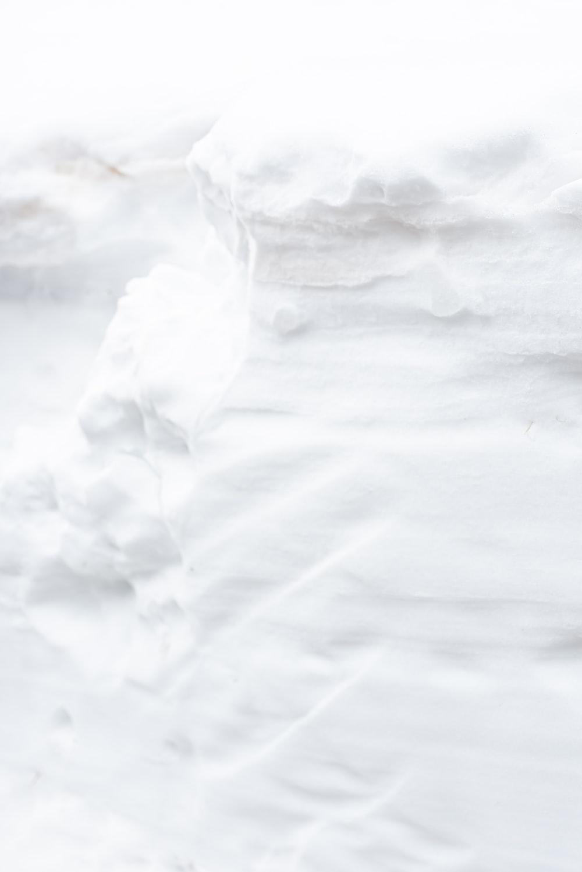 white ice on white textile