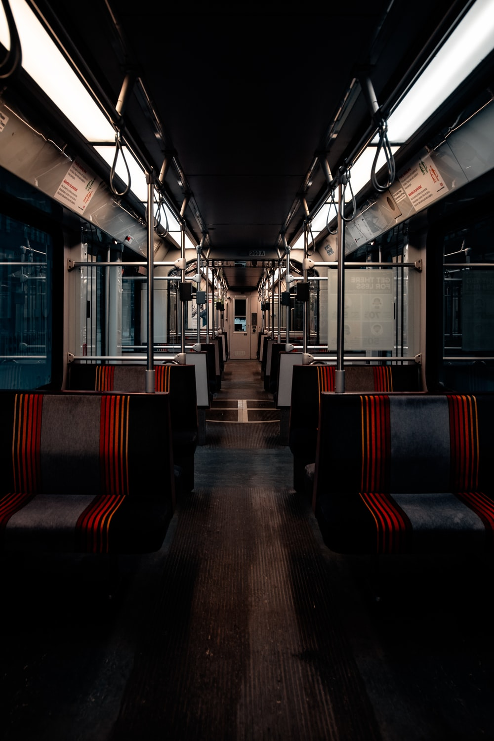 red and blue train seats
