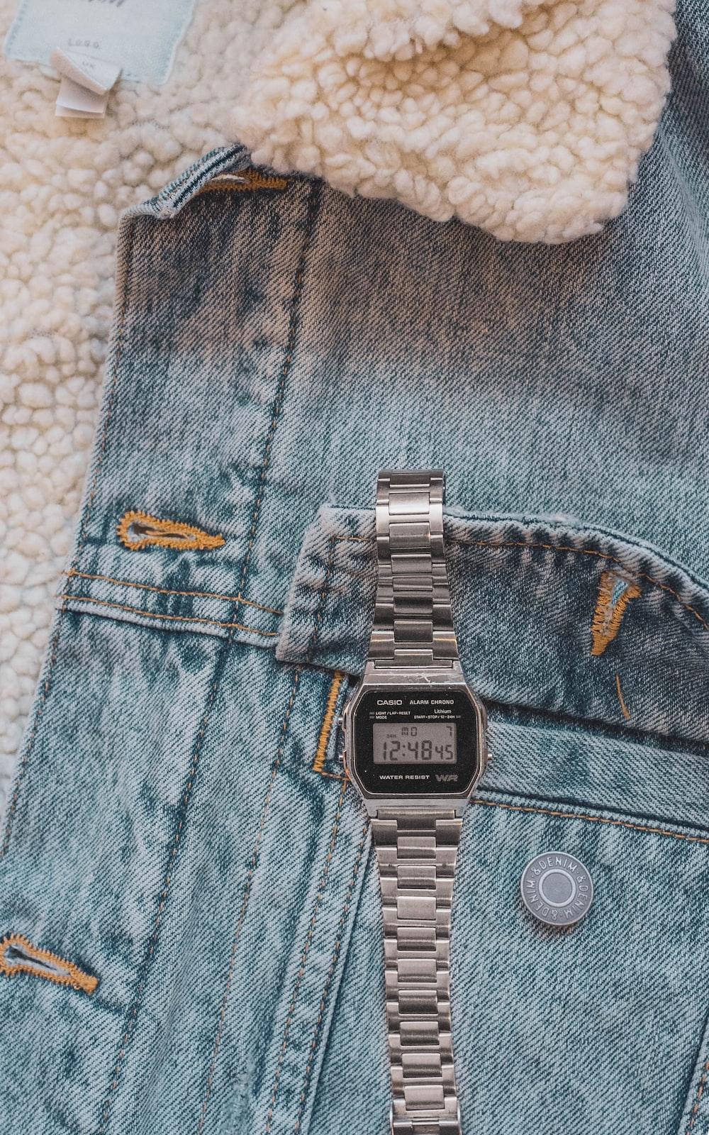 silver link bracelet square digital watch