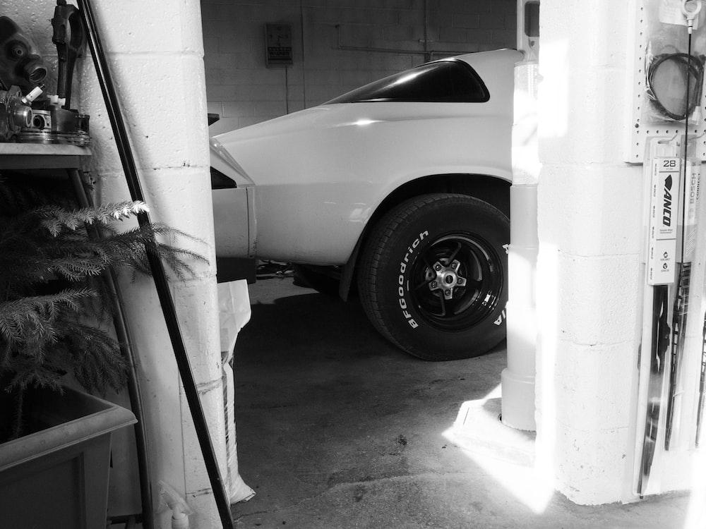white car in a garage