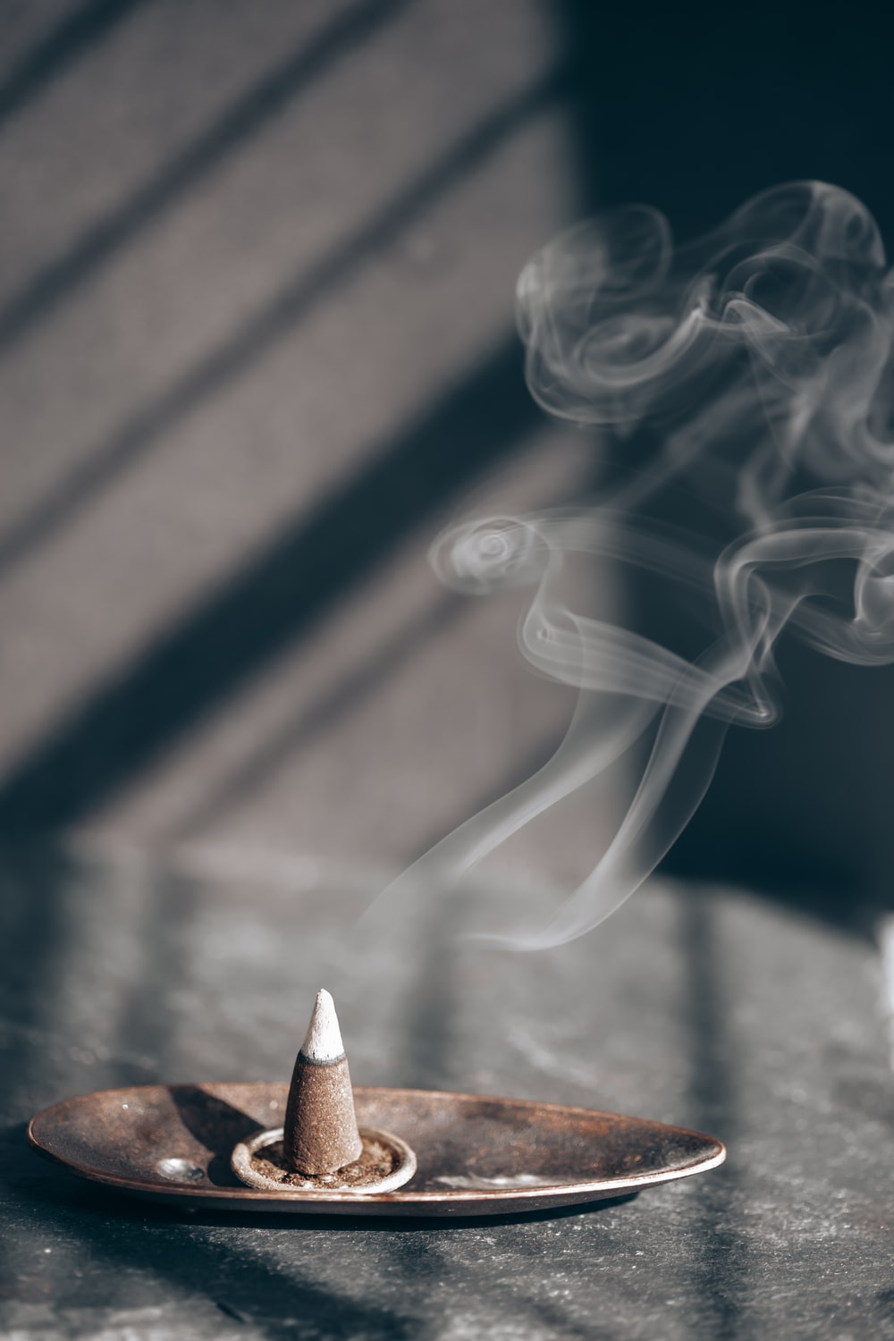white smoke on brown wooden table