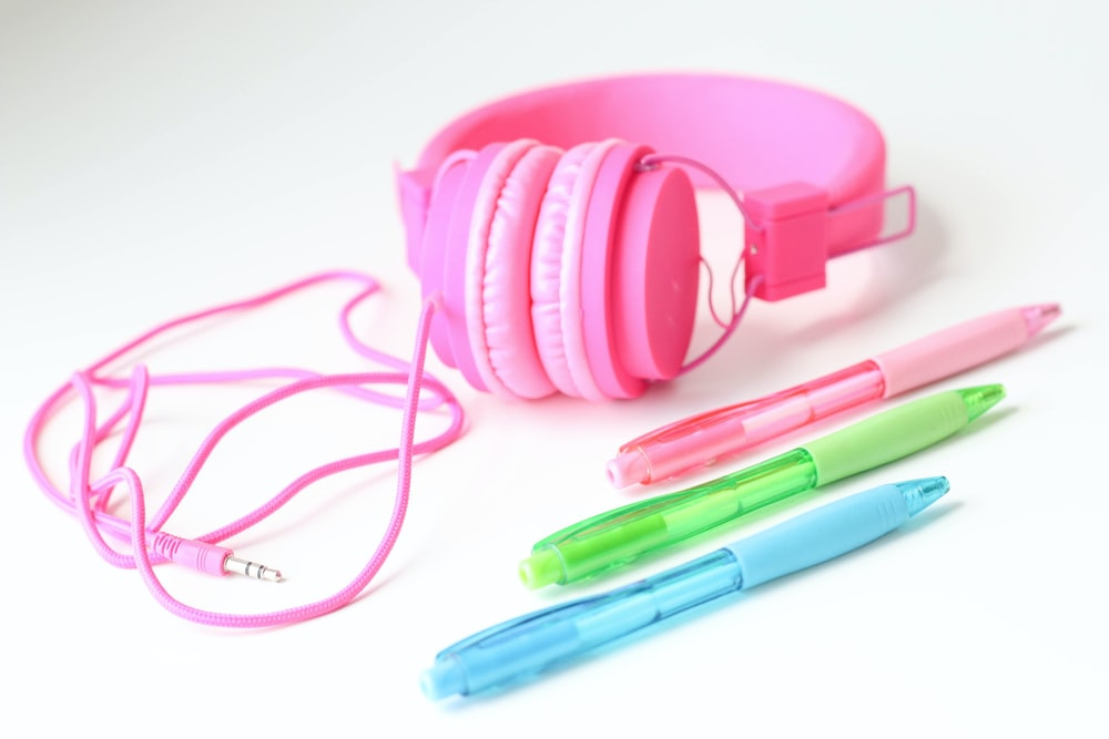 pink and blue plastic tools