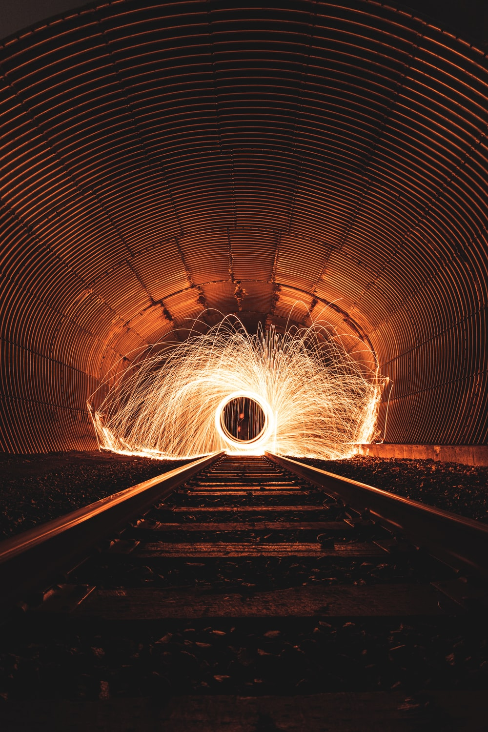 tunnel with lights turned on during night time
