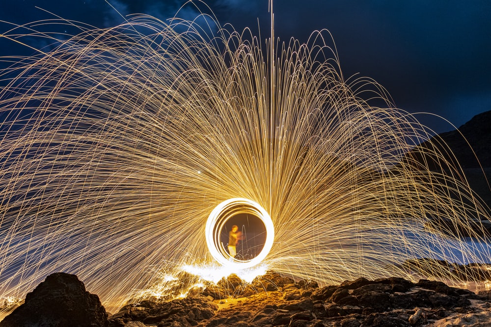 time lapse photography of fireworks during night time