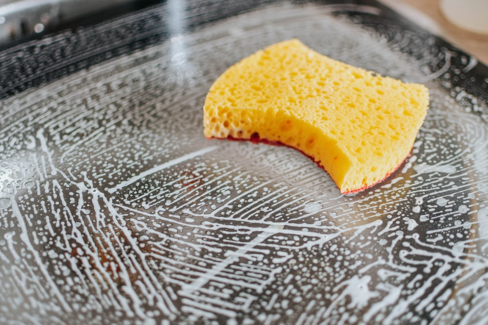 yellow powder on clear glass bowl