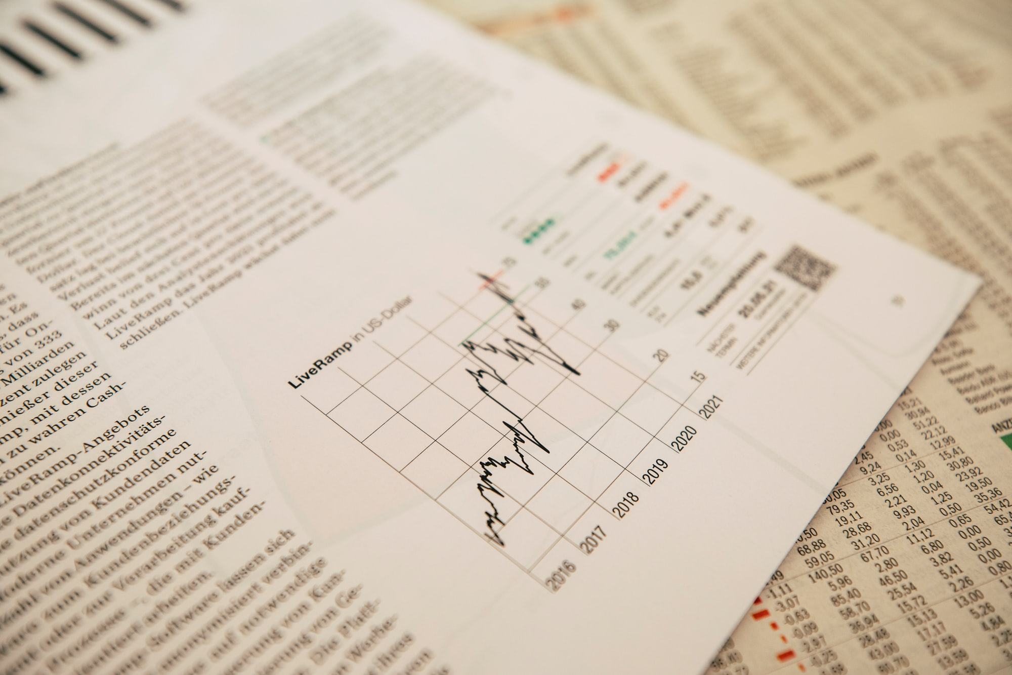 Imagem de um gráfico financeiro com jornal mostrando valores de ações ao fundo. Photo by Markus Spiske / Unsplash