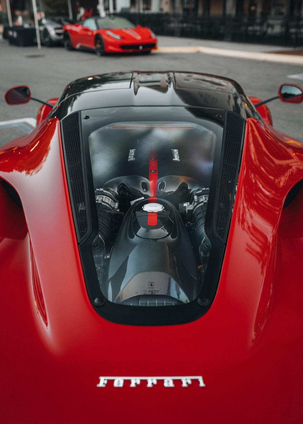 red ferrari 458 italia on road