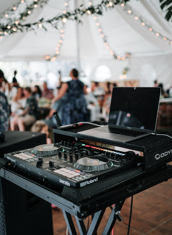 black dj controller on table