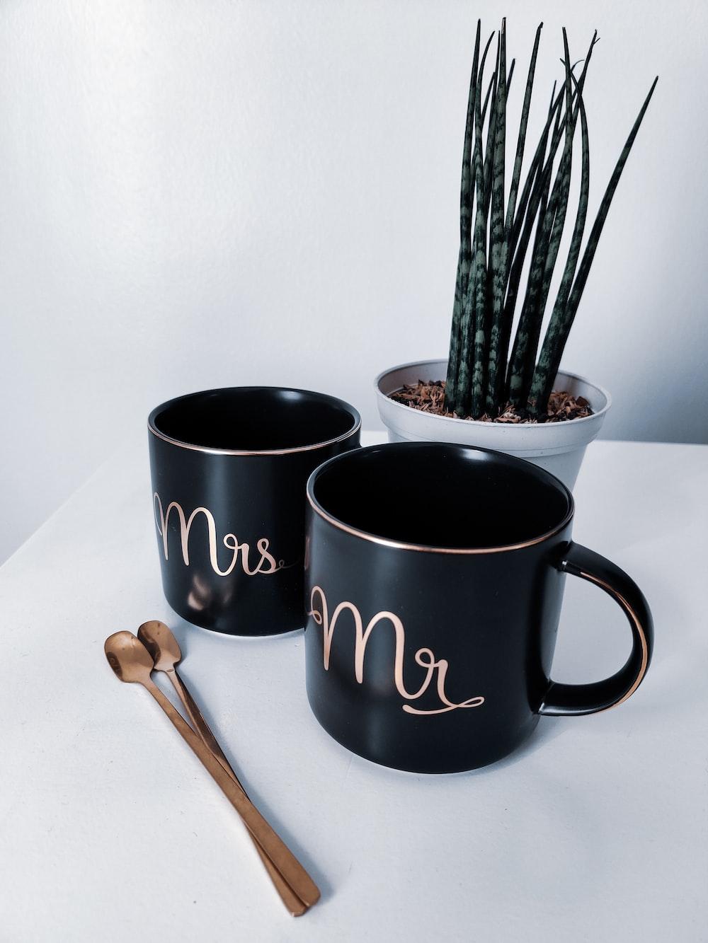 black and white ceramic mug