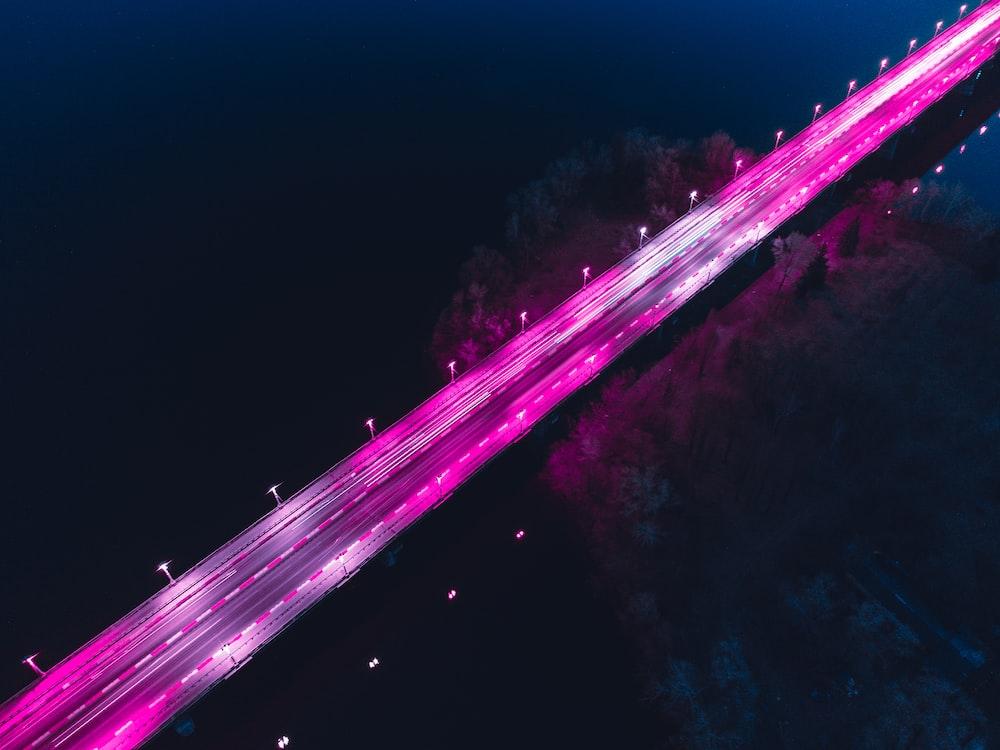 purple and white light streaks