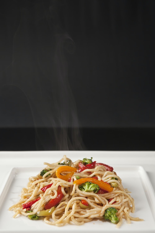 white ceramic plate with pasta dish