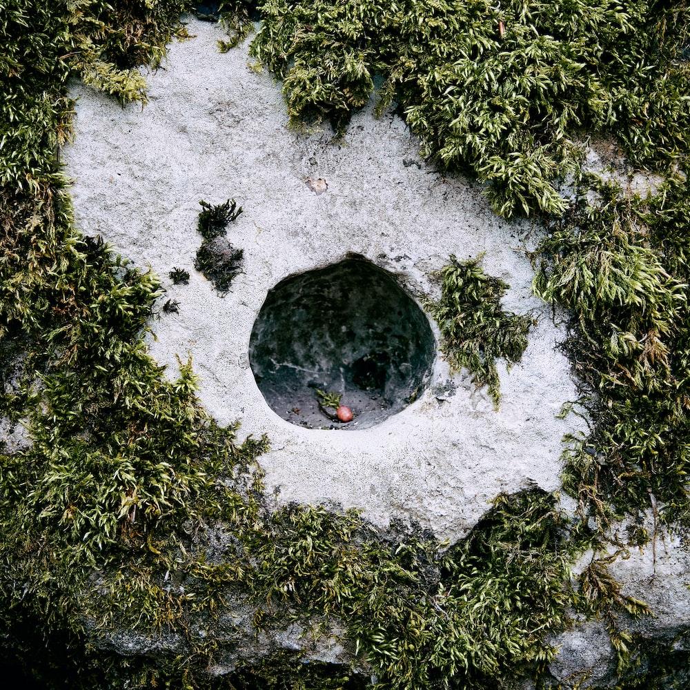 black round stone on white snow