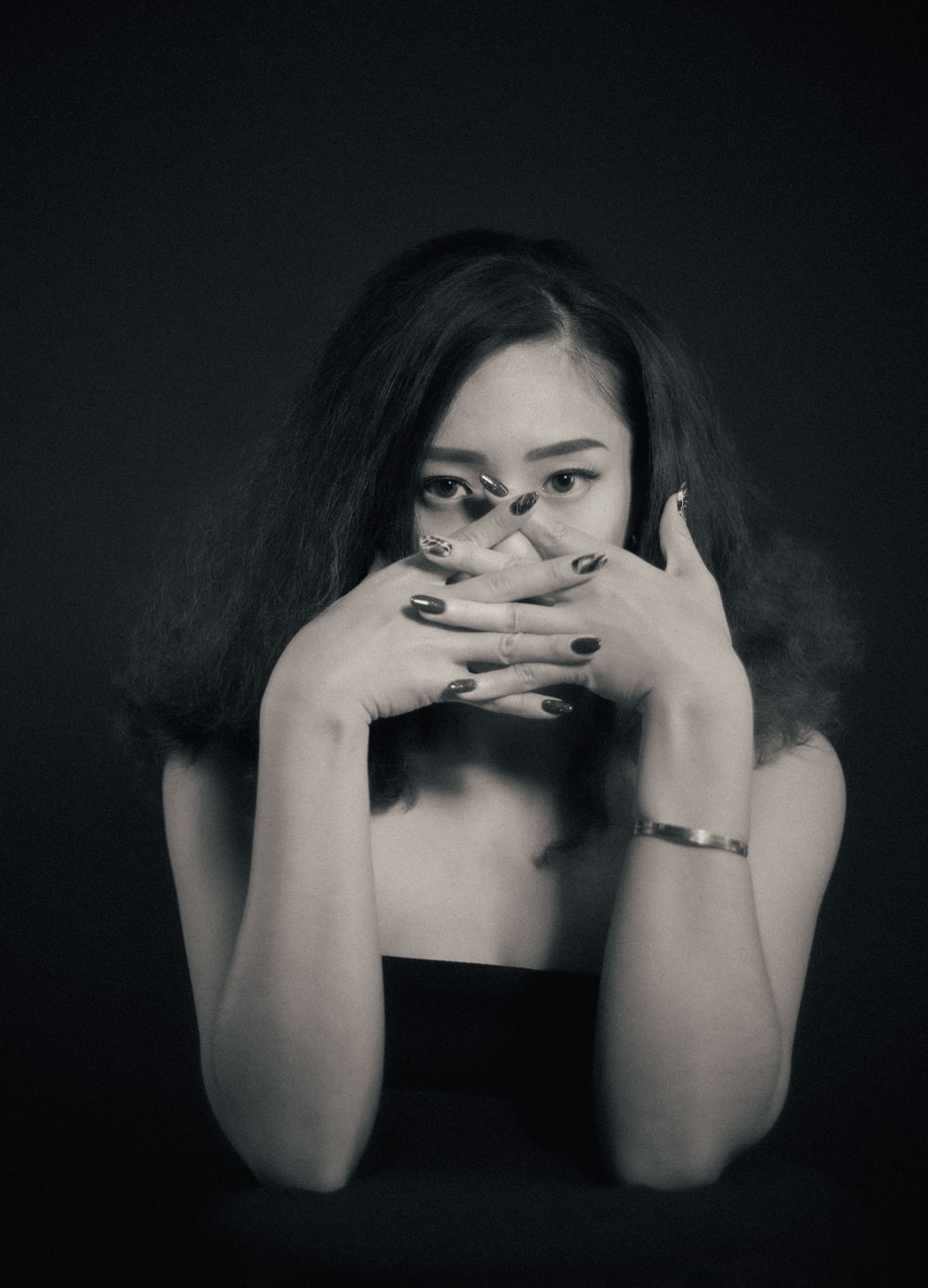woman in black tube top