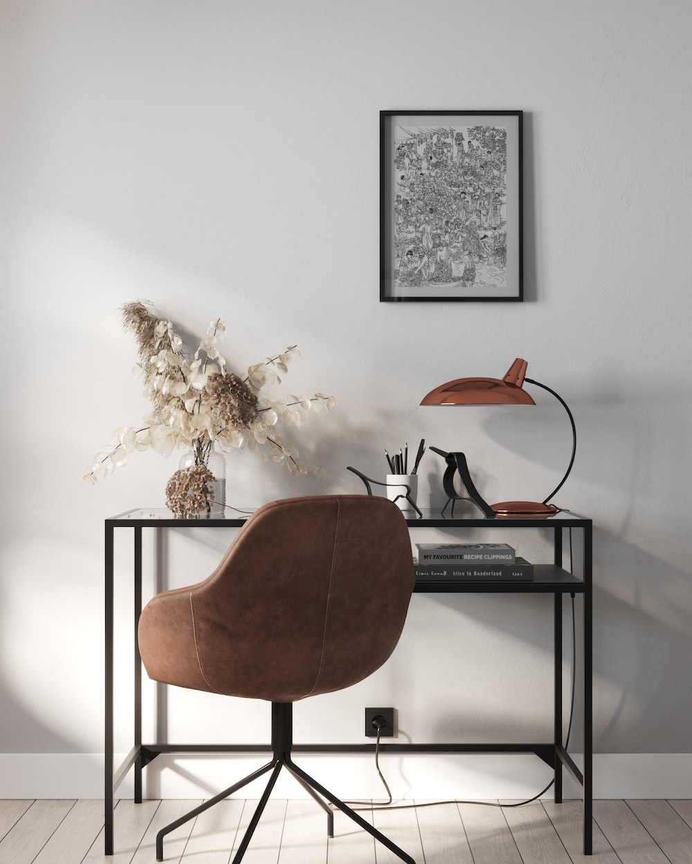 brown wooden chair beside black wooden table