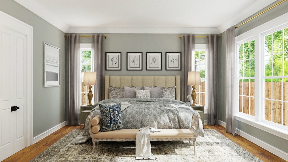 gray and white floral bed linen