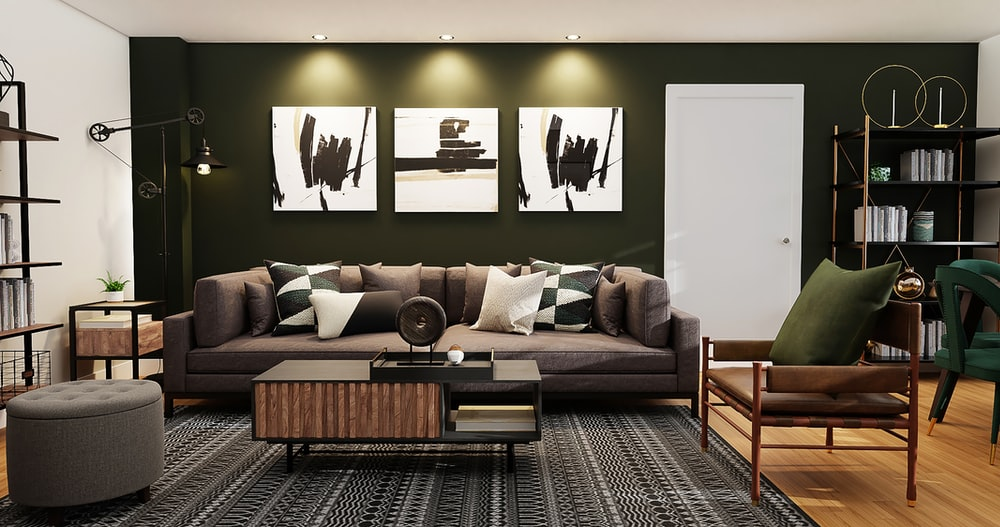 black and white wall mounted painting