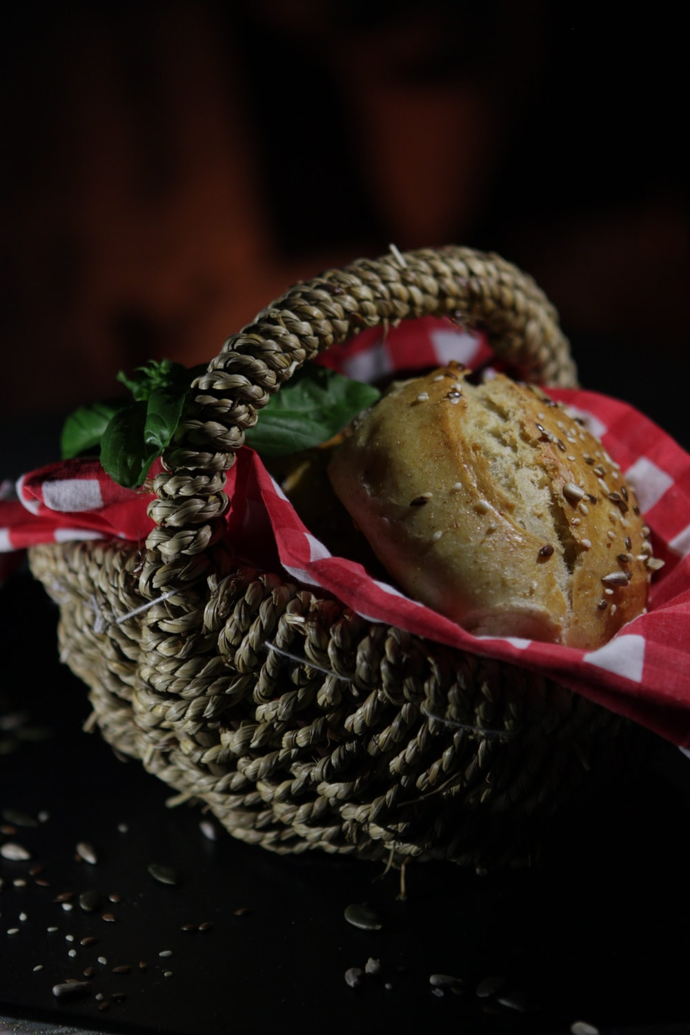brown bread on red plate