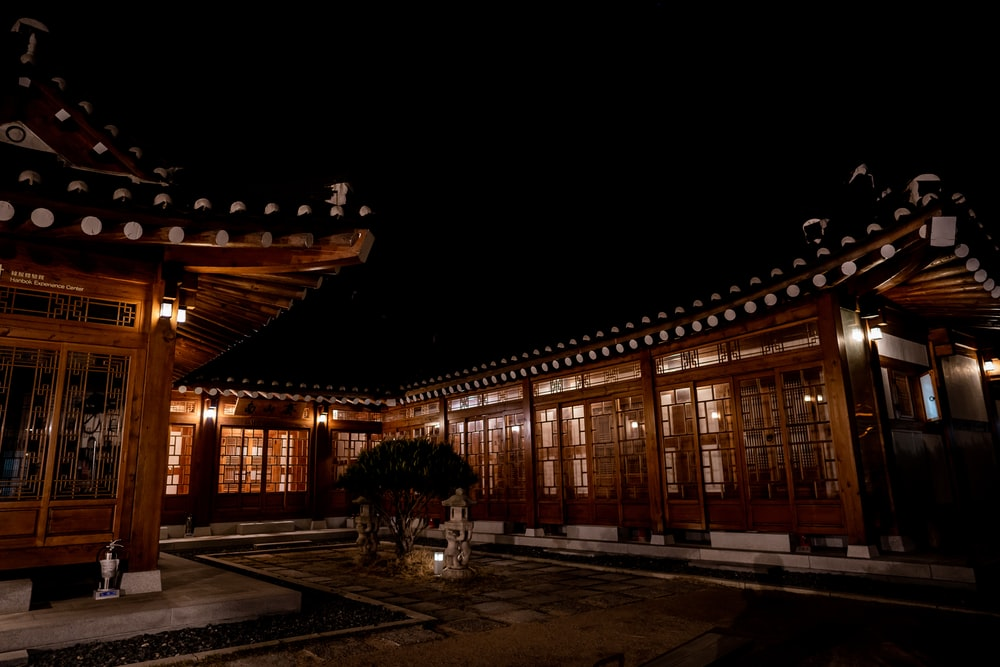 brown wooden building during night time