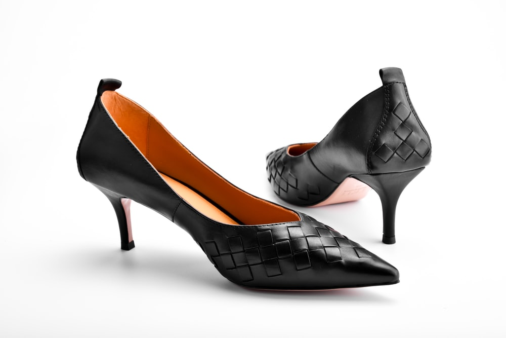 black and brown leather peep toe heeled shoes