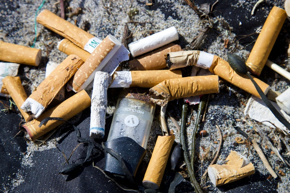 white and brown cigarette butts on black textile