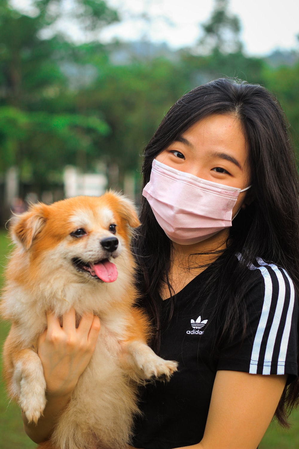woman in black and white striped shirt holding brown pomeranian
