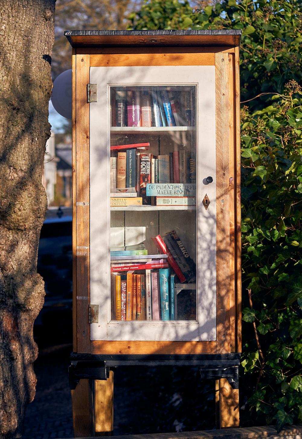 books in brown wooden shelf