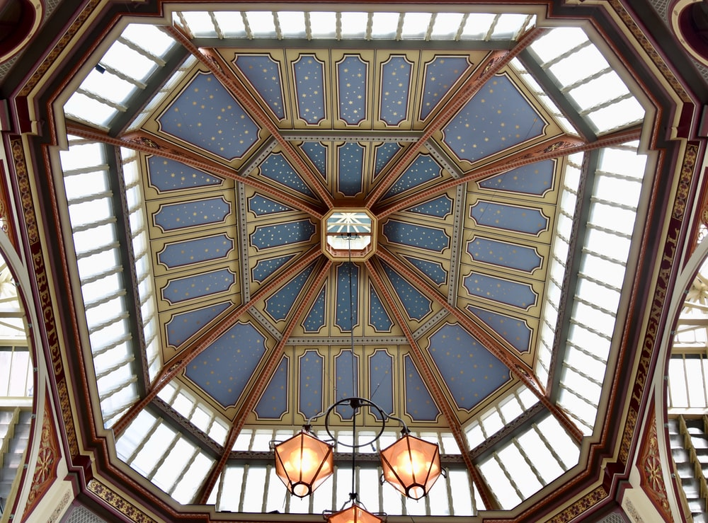 blue and white glass ceiling