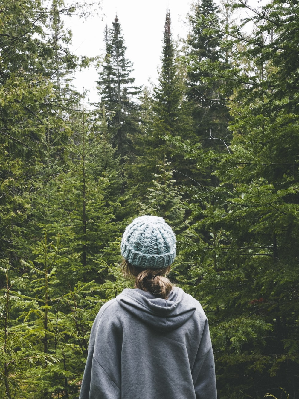 woman in gray hoodie standing in front of green trees during daytime