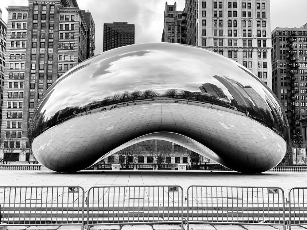grayscale photo of cloud gate chicago