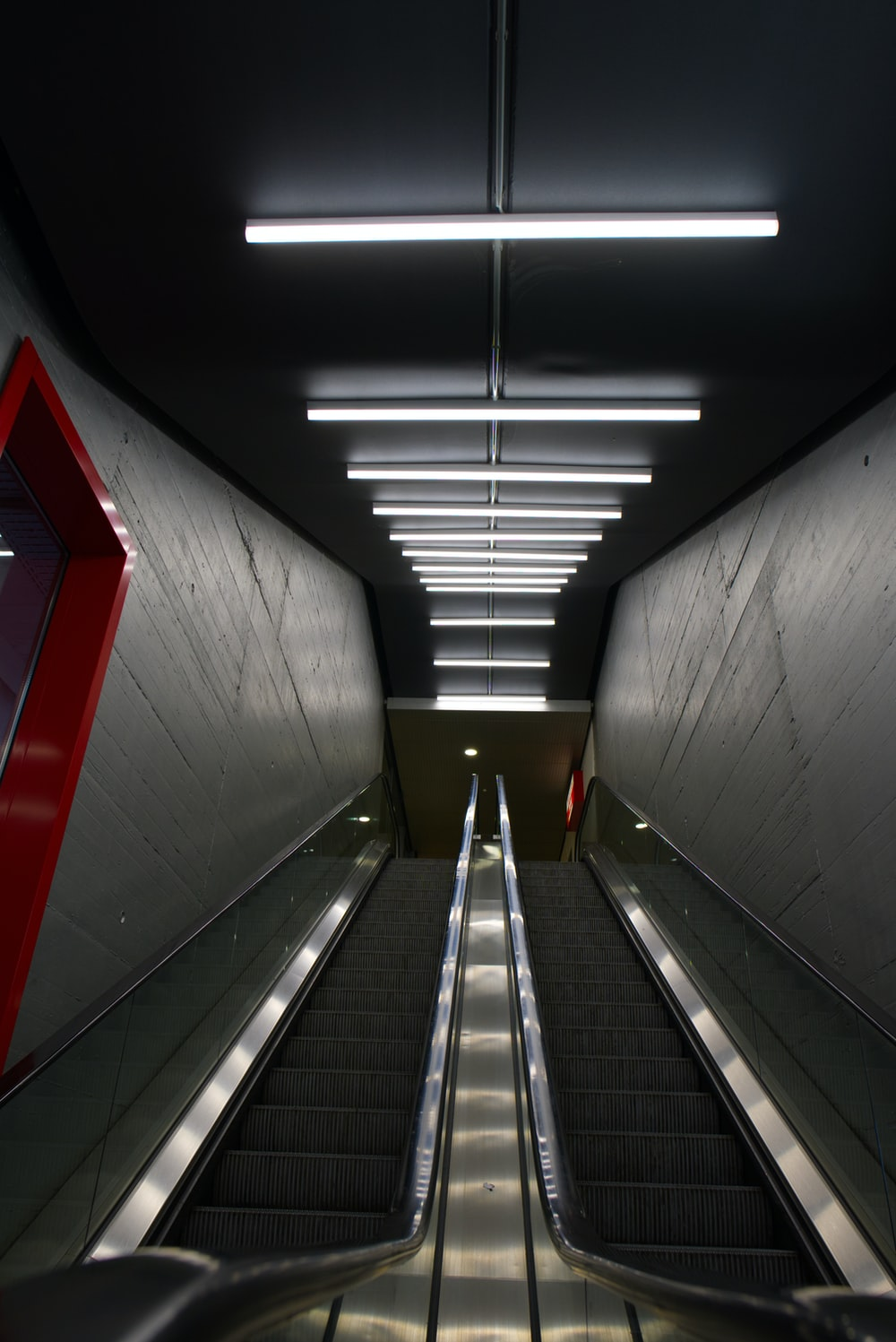 red and white concrete tunnel