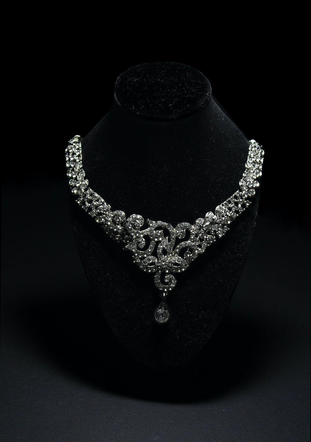 silver and diamond studded necklace