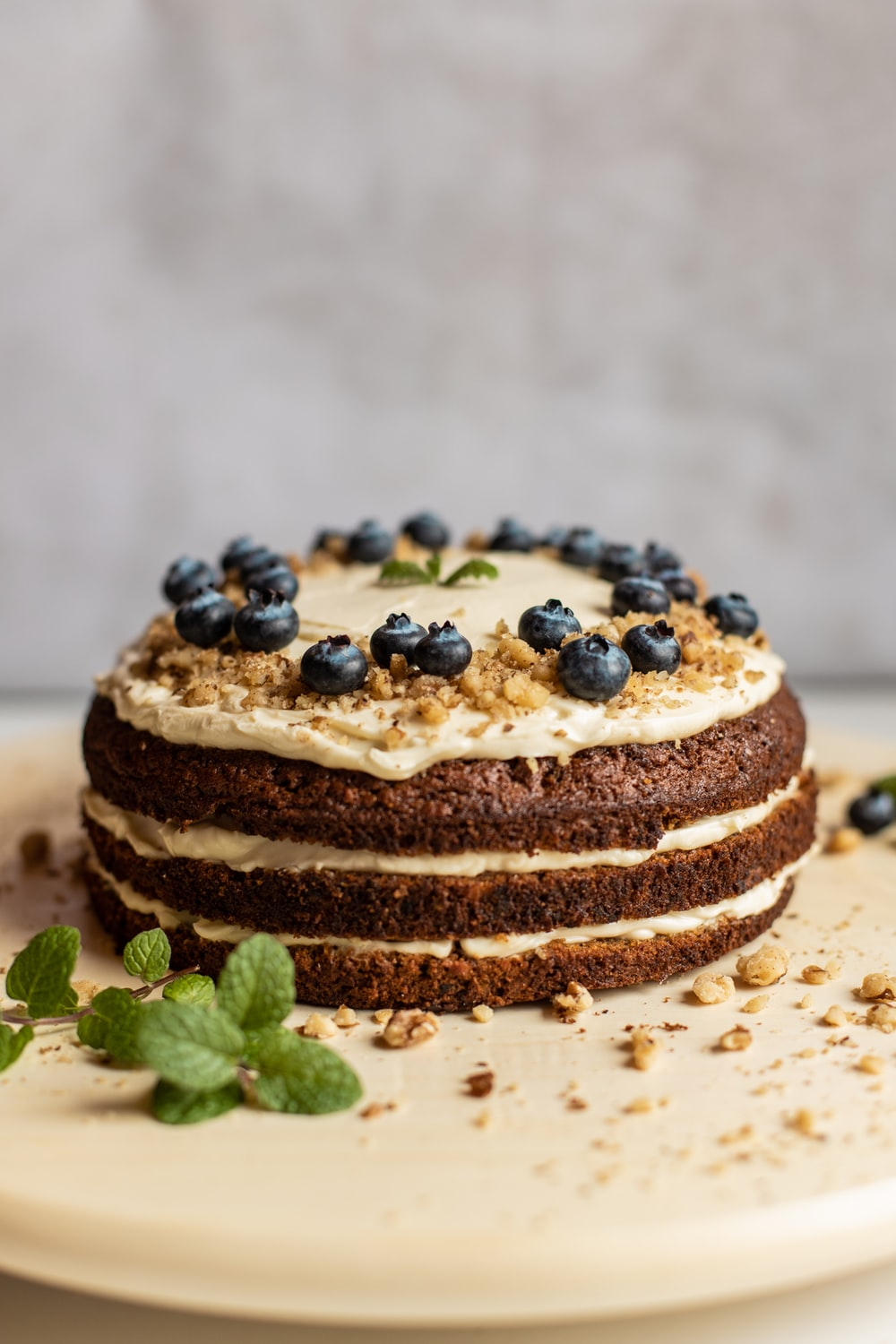 brown and black pastry with blue berries on white ceramic plate