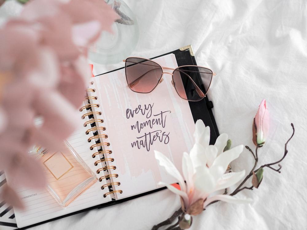 black framed sunglasses on white notebook