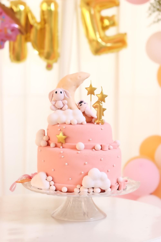 pink and white rabbit cake