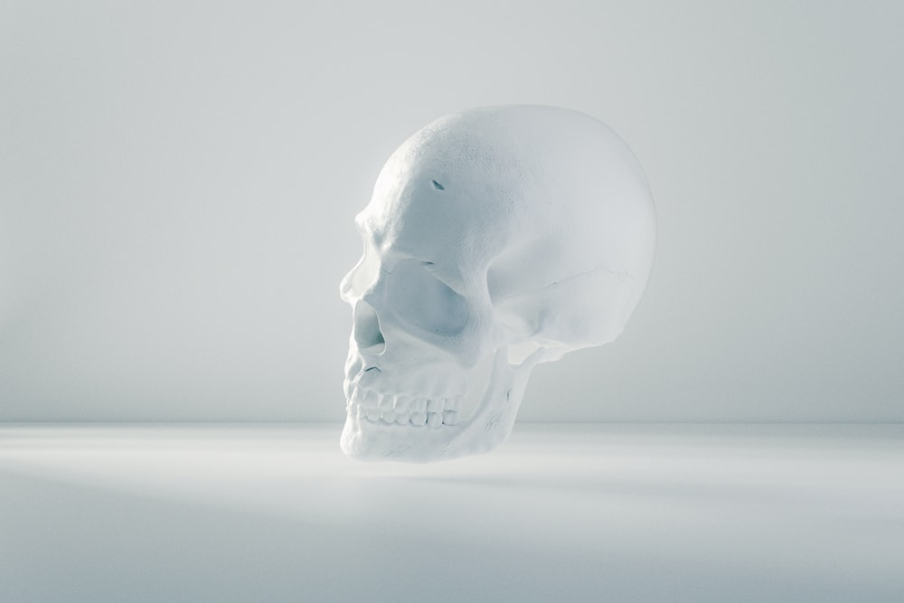 white human face ceramic figurine